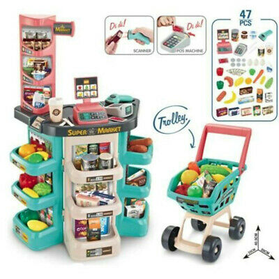 Shopping Grocery Play Store For Kids With Shopping Cart And Scanner Green
