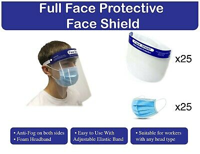 3-Ply Face Mask With Face Shield, One Size Fits All, Disposable Pack of 25