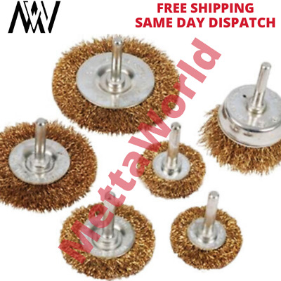 6 Piece Rotary Wire Wheel & Cup Brush Drill Set 6mm for Rust Paint Remover Tool