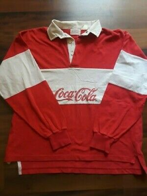 Vintage 1980's Men's/Women's Coca Cola Red Long Sleeve Polo Rugby Shirt
