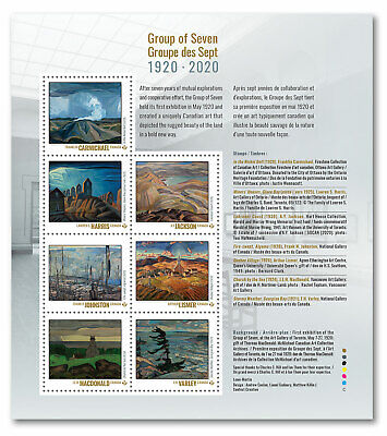 Stamps Canada 2020 - Group of Seven: Pane of 7 stamps