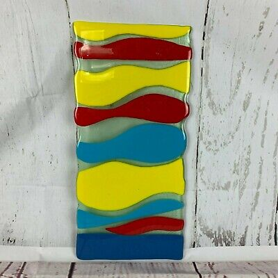 """Handmade Fused Glass Art Panel 19"""" x 9"""" Abstract Blue Yellow Red"""