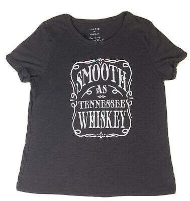 Torrid Size 00 Black Slub Knit  Smooth As Tennessee Whiskey Crew Tee Relaxed Fit