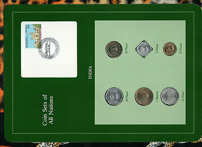Coin Sets of All Nations India w/c 1974-1986 UNC 5,25 Paise,1 Rupee 1986 5.12.86