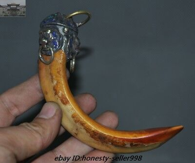 Rare Old Chinese Tibetan Silver inlay Wild boar teeth Exorcism amulet Pendant