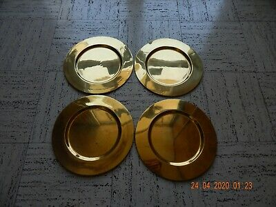 """12"""" round brass plate charger, set of 4, made in India"""