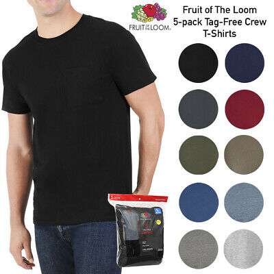 Fruit of The Loom Men's 5 Pack Casual Dual Defense Tag-Free Crew Neck T Shirts