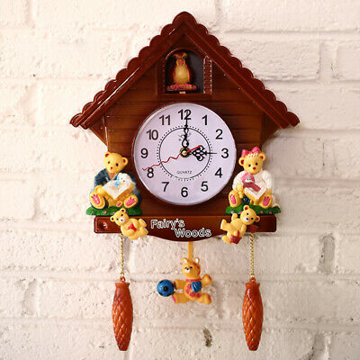 Antique Wooden Cuckoo Walls Clock Bird Time Bell Swing Alarm Watch Home Decor UK