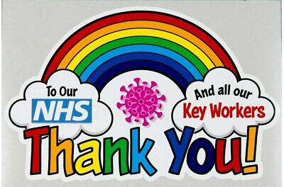 Thank you NHS & key workers Rainbow Sticker Outside Car Van Wall Window Sign
