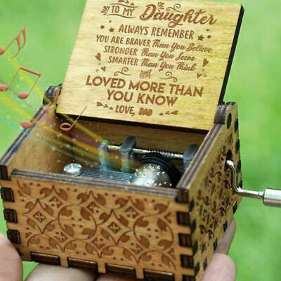 Wooden Music Box Hand Engraved Musical Case Toys Kids Dad To Daughter Gift :)