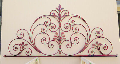 Headboard Bed header For Double Bed Wrought Iron A Tail peacock Vintage 15