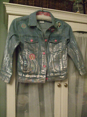 DISNEY 'The Lodge' Denim Jacket Silver/Sparkle Paint Effect Age 5-6 years