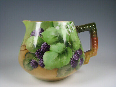 Antique Hand Painted Porcelain Cider Pitcher with Blackberries