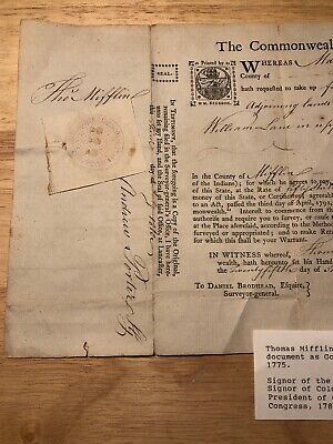 Colonial 1794 Land Grant Signed Thomas Mifflin Constitution Signer.governor Penn