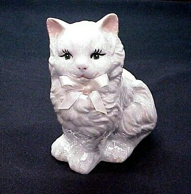 Vintage Kitty Cat Bank Money Coin Pearl White Iridescent Pink Bow Green Eyes