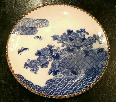 Antique 1900 Japan Plate Igezara Blue White Transfer Porcelain floral butterfly