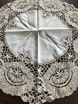 "Antique Intricate Lace Handmade Round 26"" Diameter Table Topper Large Doily"