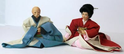 Vintage Japanese Asian Hina Doll Of A Man and Women Couple Sitting.