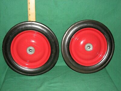 "2 - WHEELS 10""  HEAVY DUTY SOLID RUBBER TIRES 10 x 1.75 - F"