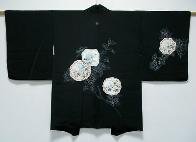 Vintage Japanese Ladies' Black Kimono Haori Eve Jacket 'Flower/Bird Plates' S/M