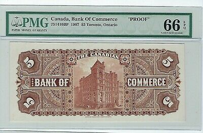 Canada The  Bank Of Commerce, $5 1907,  Back Proof PMG CU 66 EPQ Unlisted