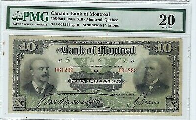 Canada The  Bank Of Montreal, $10 1904, PMG  VF 20 Light Crayon mark