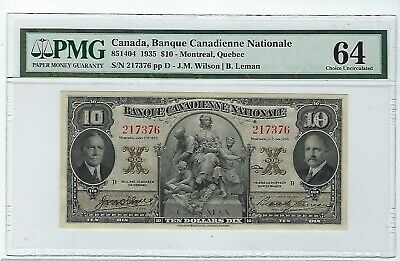Canada Banque Canadienne Nationale, $10 1935, PMG  64