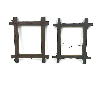 Two Antique Victorian Wooden Carved Photo Picture Frames Leaf Details Home Decor