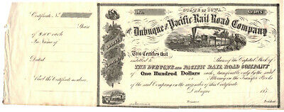 Dubuque and Pacific Rail Road Company- Vintage Stock Certificate - circa 1850