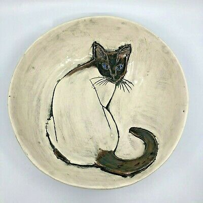 """Beautiful STUDIO ART POTTERY """"Whiskers"""" SIAMESE CAT Kitty Large Bowl Signed 2006"""