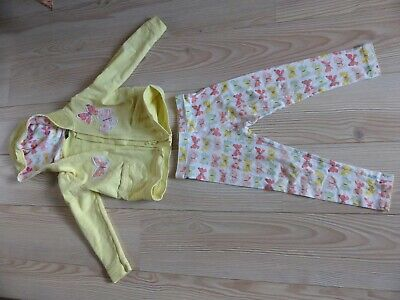 Girl's Butterflies HOODIE and TROUSERS 4 years matching leggings yellow white