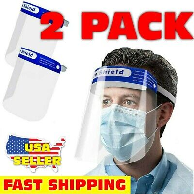 SAFETY FACE SHIELD 2pcs - CLEAR - SPASH PROOF - ANTI FOG PROTECTOR WORK INDUSTRY