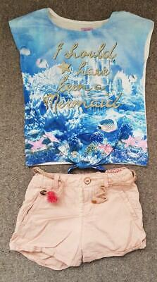 Lovely 2 Piece Outfit, Frozen T Shirt Top And Zara Shorts Set,  5-6 Yrs