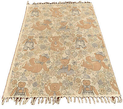 Teddy Bears/ Roses Baby Woven Area Rug/Wall Hanging Fringes Reversible? Nursery