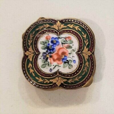 Antique French Victorian GIlt Bronze Hand Enameled Floral Compact Powder Box