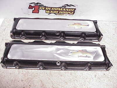 2 GM Bowtie Aluminum Valve Covers with Spray Oilers for Chevy R07 NASCAR Engines