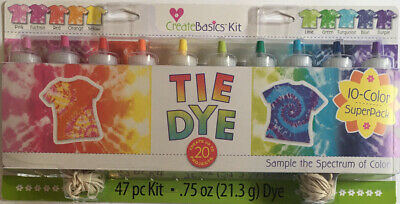 Create Basics Tie Dye Kit, 47 Piece 10 Color Super Pack Create and Wear Your Art