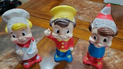 Vintage Snap, Crackle, and Pop Squeeze Toy Figurine Kelloggs Rice Crispies