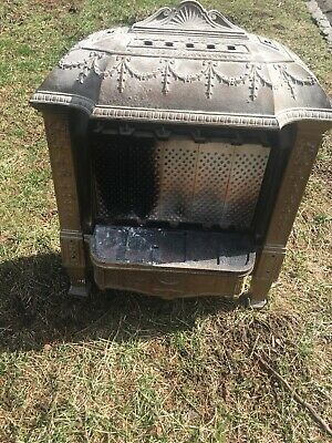 Antique Late 1800'S Cast Iron Ornate Gas Fireplace Insert