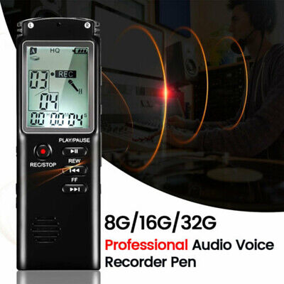 8/16/32GB Voice Recorder Digital Audio Dictaphone Rechargeable MP3 Player