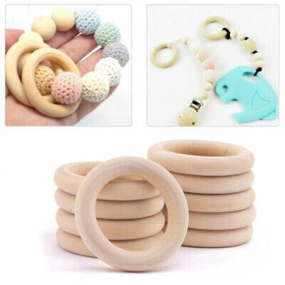 20x Natural Wooden Baby Teether Ring Unfinished Wood Jewellery Craft Set UK!