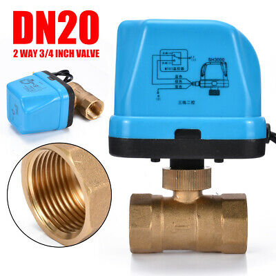 "Brass G3/4"" DN20 3/4 Inch 2 Way 220V Control Motorized Electrical Ball Valve.UK"