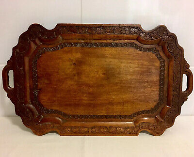 Antique Chinese Rosewood Tray Hand Carved Handled