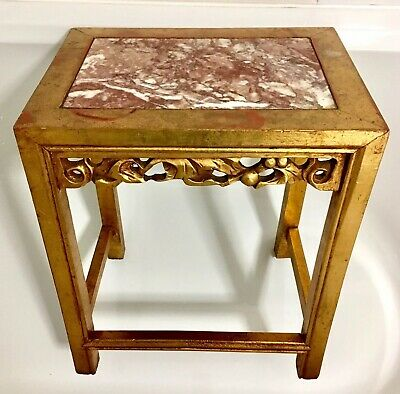 Antique Gilt Wood Chinese Jardiniere Stand Table With Marble Top