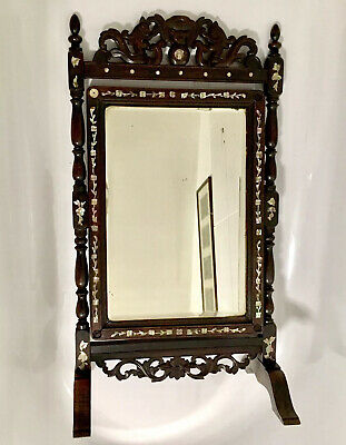 Antique chinese vanity table mirror carved ebonised Japanned mother of pearl