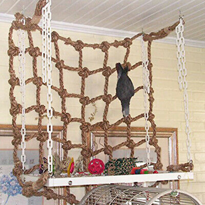 Pet Bird Climbing Net Cage Parrot Ladder Hanging Swing Rope Macaw Play Toy UK