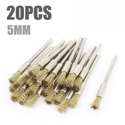 20 pcs Mini Wire Brushes Set Brushes Brass Cup Wheel New or Drill For Grind