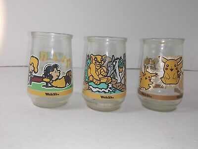 3 Welch's Jelly Jar Collector Glass Pikachu + Peanuts + Lion King