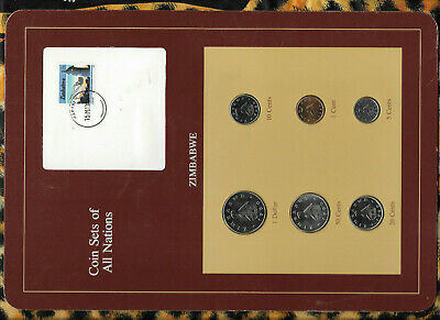 Coin Sets of All Nations Zimbabwe UNC $1, 50,20,10,5 Cents 1980 1 cent 1986