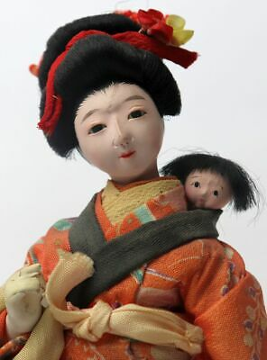 "Antique Japanese Gofun Isho Ningyo Doll Mother and Child Silk Kimono 8 1/2"" Tall"